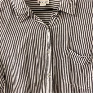 SYLUS Stripped Long Sleeved Work Shirt w/ Pocket